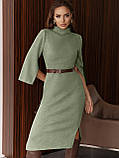 Трикотажное платье-миди приталенного кроя с поясом в комплекте, фото 9
