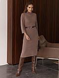 Трикотажное платье-миди приталенного кроя с поясом в комплекте, фото 2
