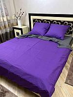 """Хлопковое постельное белье из ткани бязь однотонной расцветки из двух цветов """"серый + фиолетовый"""""""