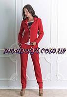 Женский  брючный красный костюм с пиджаком