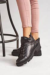 Женские ботинки кожаные зимние черные Vikont 27-06-19 на меху