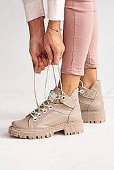Женские ботинки кожаные зимние бежевые Vikont 27-37-19 на меху
