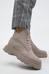 Женские ботинки кожаные зимние бежевые Yuves 695 Beige На меху