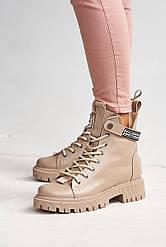 Женские ботинки кожаные зимние бежевые Vikont 45-37-19 на меху