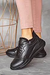 Женские кроссовки кожаные зимние черные Yuves 97780 На меху