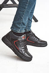 Мужские кроссовки кожаные зимние черные Splinter Б 0421 на меху