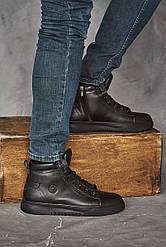 Мужские кеды кожаные зимние черные Rivest K5 на меху