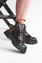 Женские ботинки кожаные весна/осень черные Foletti FR001-1