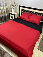 """Хлопковое постельное белье из ткани бязь однотонной расцветки из двух цветов """"красный + черный"""""""