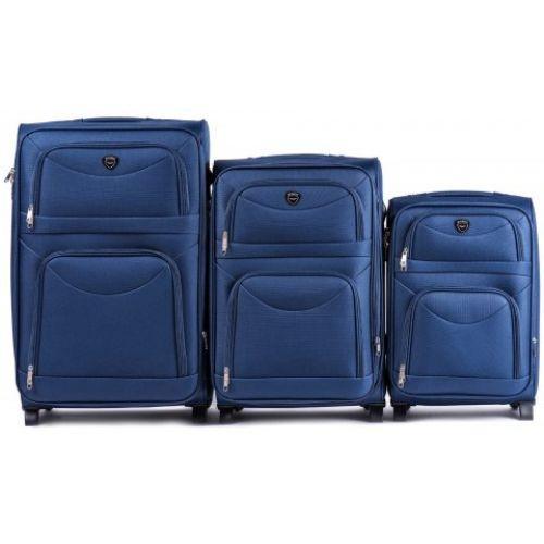Чемодан на колесиках полиэстер синий Арт.6802 (S) Wings Польща