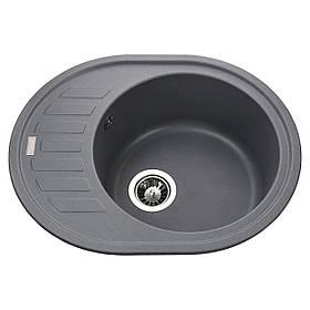 Гранітна мийка Globus Lux ARNO сірий металік 620х500мм-А0003