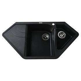 Гранітна мийка Globus Lux GARDA чорний металік 1000х500мм-А0001