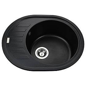 Гранітна мийка Globus Lux ARNO чорний металік 620х500мм-А0001