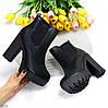 Люксовые черные зимние женские ботинки ботильоны на высоком каблуке, фото 2