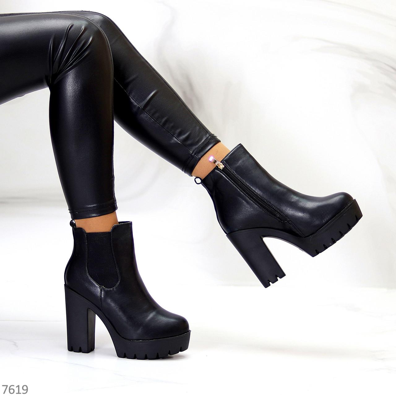 Люксовые черные зимние женские ботинки ботильоны на высоком каблуке