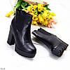 Люксовые черные зимние женские ботинки ботильоны на высоком каблуке, фото 6