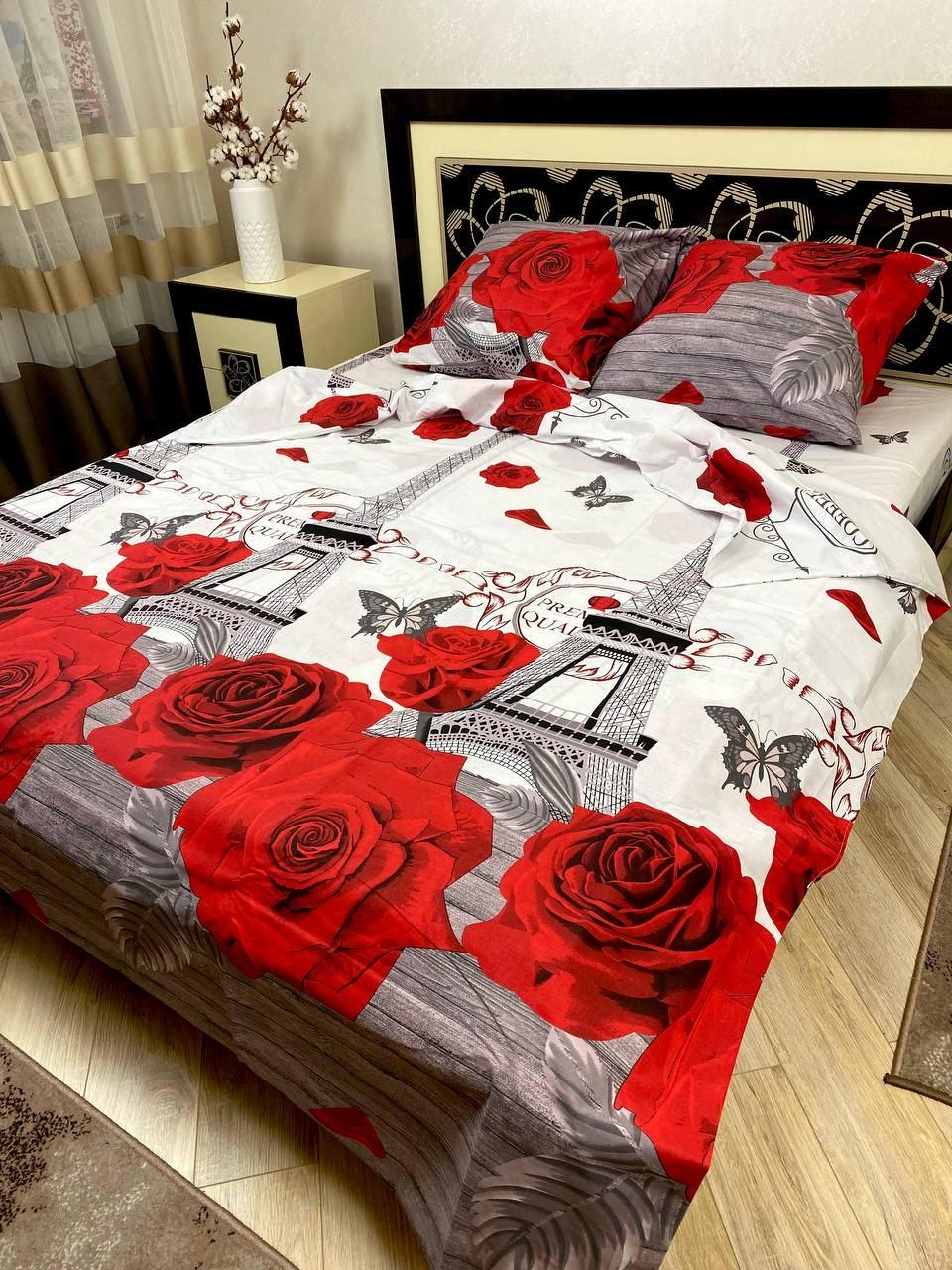 """Хлопковое постельное белье из ткани бязь расцветки """"Париж розы"""""""
