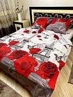 """Хлопковое постельное белье из ткани бязь расцветки """"Париж розы"""", фото 1"""