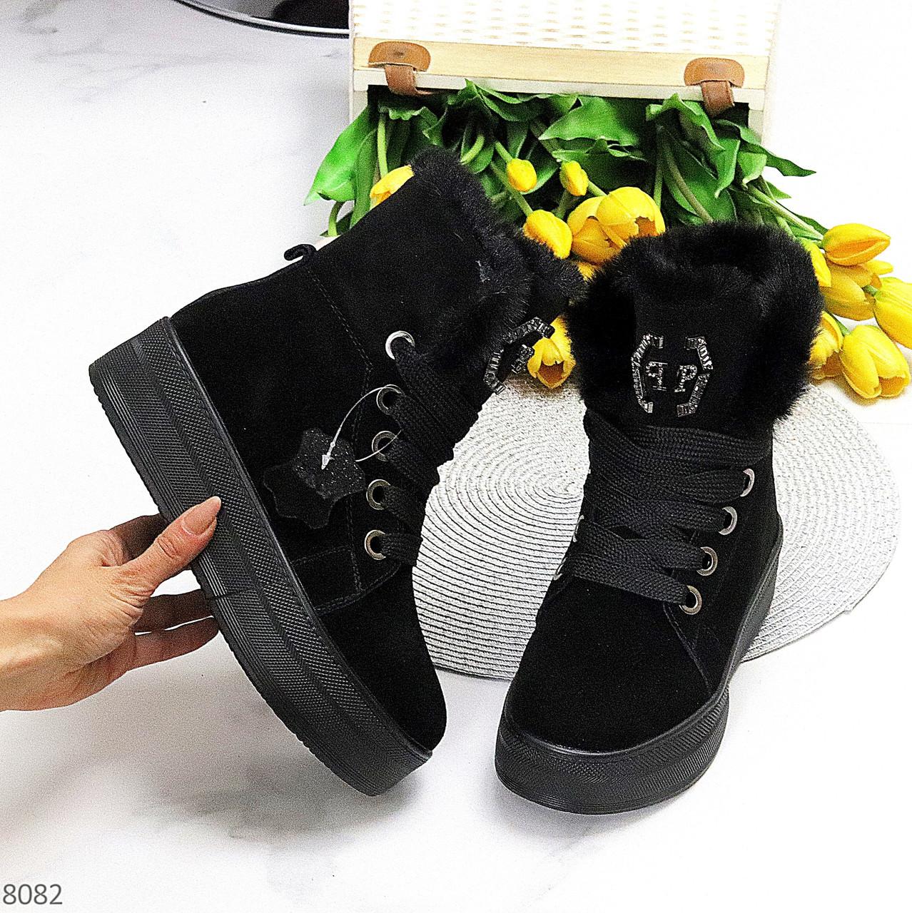 Натуральна замша чорні замшеві жіночі високі зимові черевики на платформі