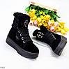 Натуральна замша чорні замшеві жіночі високі зимові черевики на платформі, фото 9