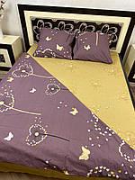 """Хлопковое постельное белье из ткани бязь расцветки """"Одуванчики на сером фоне + желтый"""""""