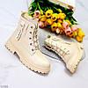 Дизайнерские светлые бежевые женские ботинки на флисе молния + шнуровка, фото 6