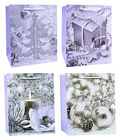 Пакет подарочный новогодний, бумажный, 32x26x12 см., в асс-те