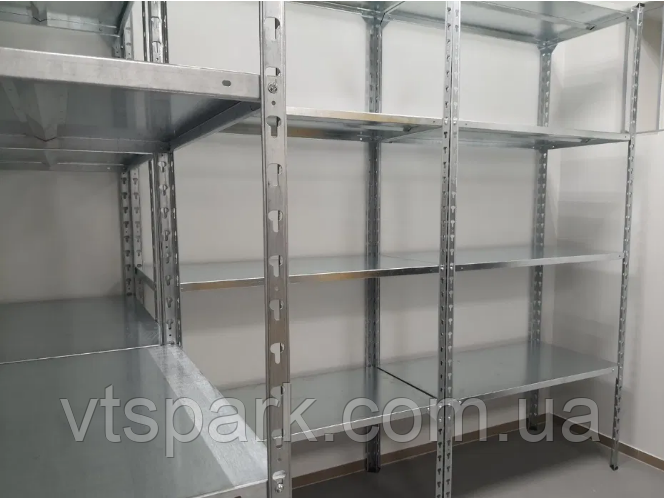 Стеллаж металлический 2500х1000х500мм, 120кг, 5 полок оцинкованный для подвала, склада, архива