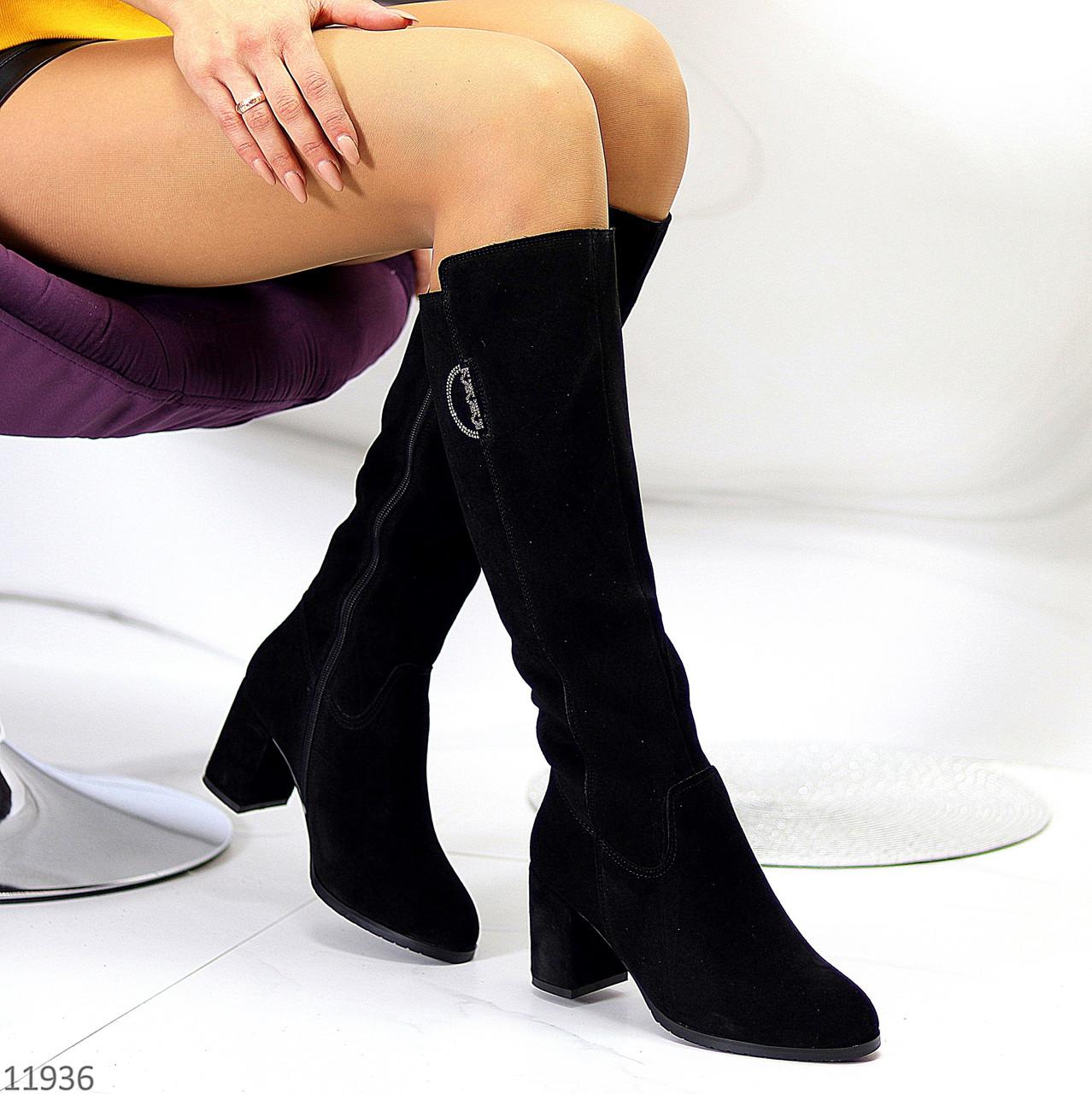 Натуральна замша теплі зимові чорні жіночі чоботи Натуральна цигейка Зручний каблук