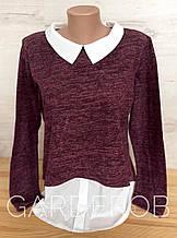 Женский свитер - джемпер с рубашкой (обманка), M (44-46-48), Свекла
