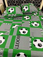 """Детское хлопковое постельное белье из ткани бязь расцветки """"Футбол зелёный"""", фото 1"""