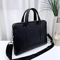 Чоловіча шкіряна сумка-портфель чорна Vintage 13678, фото 5