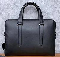 Чоловіча шкіряна сумка-портфель чорна Vintage 13678, фото 2