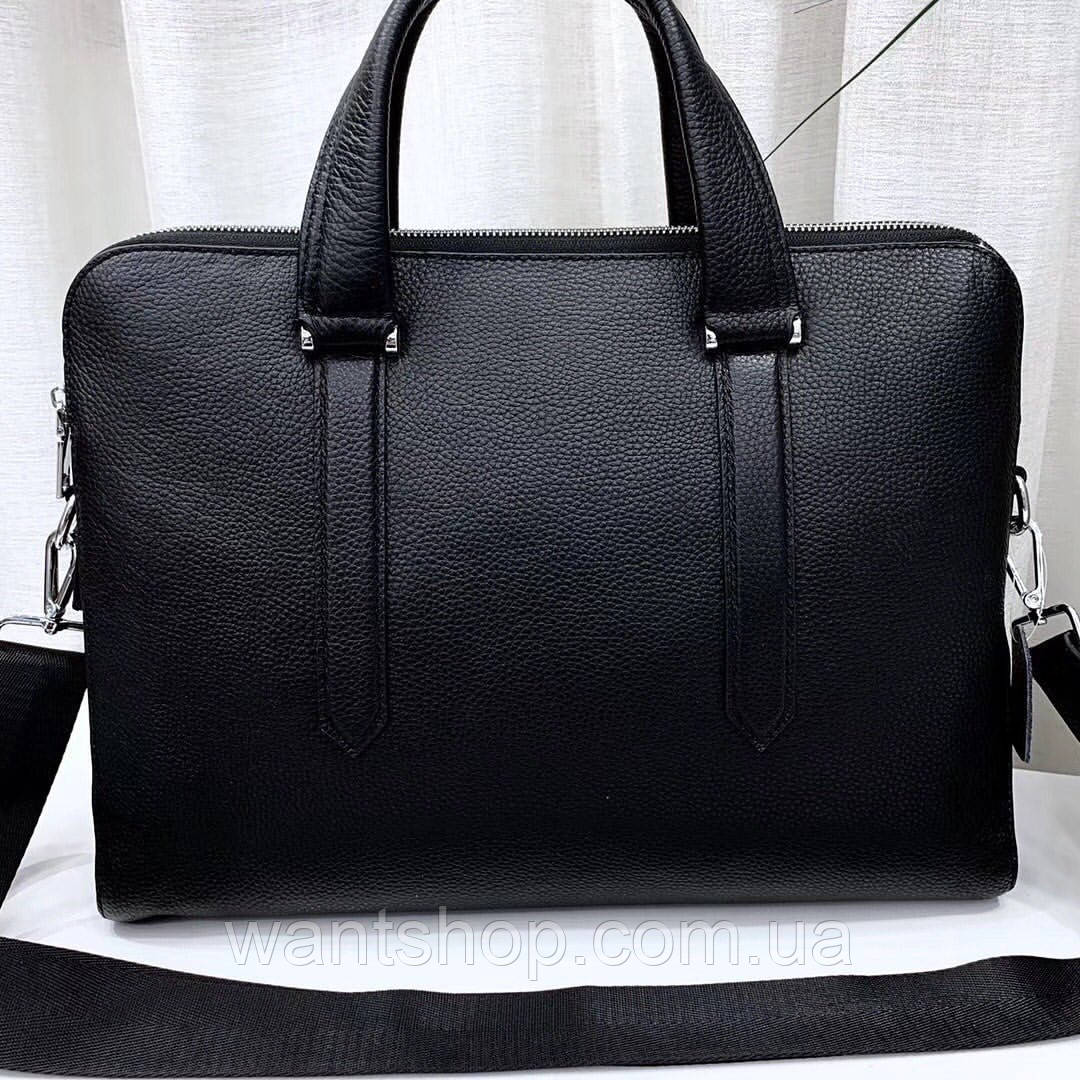 Чоловіча шкіряна сумка-портфель чорна Vintage 13678