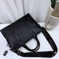 Чоловіча шкіряна сумка-портфель чорна Vintage 13678, фото 9