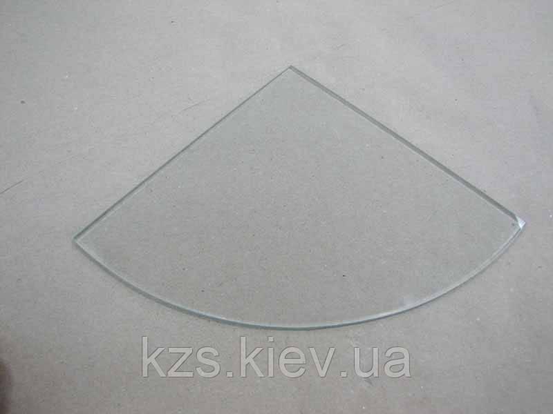 Полка радиусная из прозрачного стекла толщиной 6 мм. 300х300мм