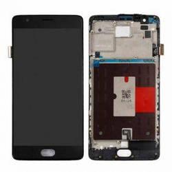 Дисплей OnePlus 3 A3003, 3T A3010 с тачскрином черный в рамке Amoled
