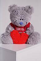 Мишка плюшевый с латками Me To You в футболке c сердцем Yarokuz 40 см Серый, фото 1