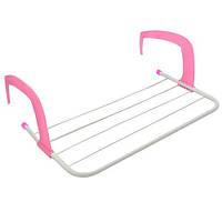 Сушилка для белья на балкон Fold Clothes Shelf TL00143-M 49*29 см Розовая, сушка для вещей на батарею (NS)
