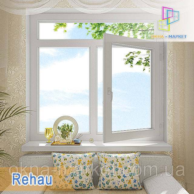 """Окно с фрамугой Rehau Ecosol 70 1400х1700 Киев. """"Окна Маркет"""""""