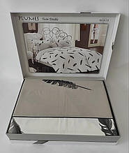Постельное белье Maison D'or сатин семейный Plumes Grey