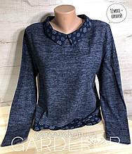 Женский свитер - джемпер с рубашкой (обманка), M (44-46-48), Тёмно-синий
