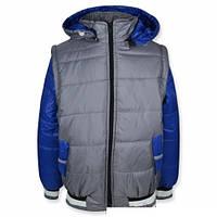 Куртка-жилетка (Серый+Синий) рр.110-122