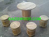 """Набор мебели """"Стандарт"""" из дубовых бочек для бани и сауны."""