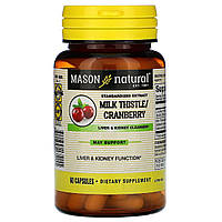 Очищающий комплекс для печени и почек, Milk Thistle & Cranberry, Mason Natural, 60 капсул