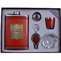 Подарочный набор Jack Daniels, фляга + брелок + пепельница + стопка +  лейка