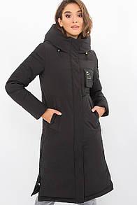 Стильная женская куртка-пальто биопух  прямая черный 44 46 48 50 размер