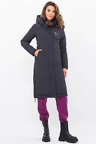 Стильная женская куртка-пальто биопух  прямая  т-синий 44 46 48 50 размер