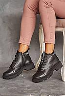 Жіночі черевики шкіряні зимові чорні Vikont 35-06-19 на хутрі, фото 1