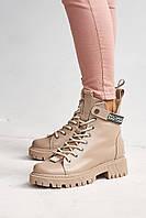 Женские ботинки кожаные зимние бежевые Vikont 45-37-19 на меху, фото 1